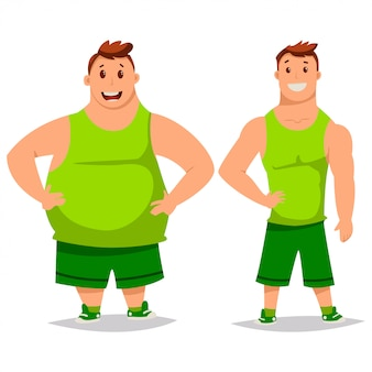 Fat and slim man cartoon characters isolated