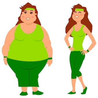 Fat and slim woman before and after weight loss