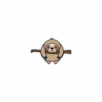 Fat sloth on a branch cartoon icon