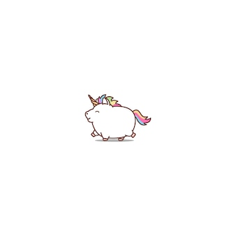 Fat unicorn walking cartoon icon
