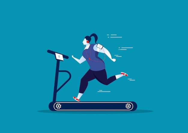 Толстая женщина упражнение на спортивной стационарной беговой дорожке.