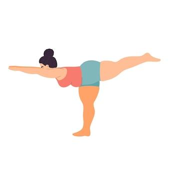 Толстая женщина занимается йогой, спортом и фитнесом толстая девушка занимается асанами позы йоги