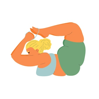 Fat woman practices yoga sports and fitness girl practices asanas yoga poses