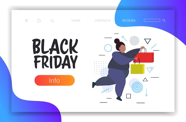 Fat woman running with shopping bags black friday big sale