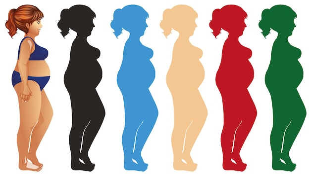 Fat woman and silhouette in different color