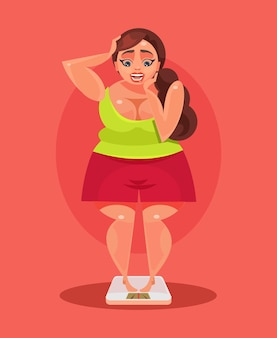 Fat woman. vector flat illustration