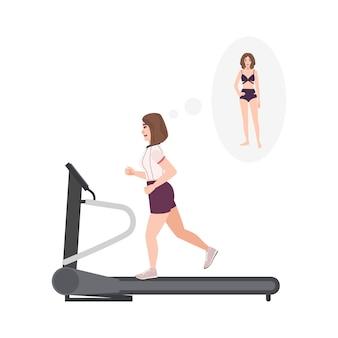 Толстая женщина в фитнес-одежде работает на беговой дорожке