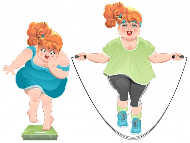 Fat woman with horror looks at the scales, and then jumps on a skipping rope