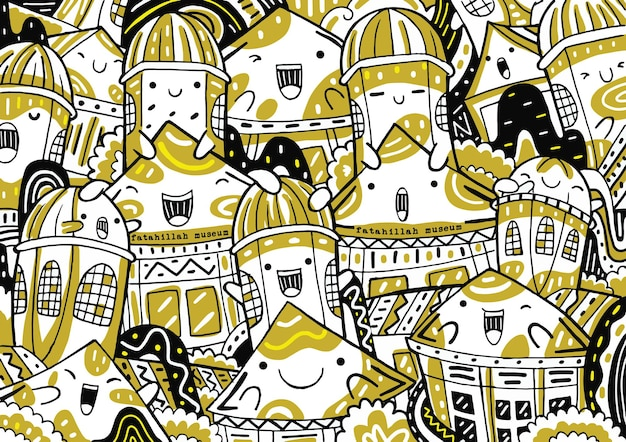 Fatahillah museum doodle in flat design style