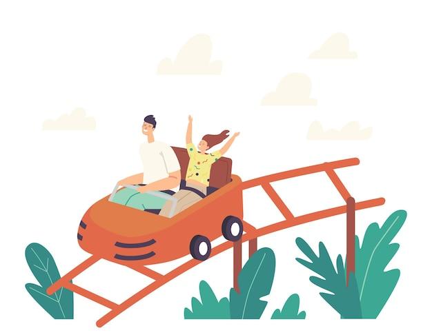 遊園地でジェットコースターに乗る父と娘のキャラクター、楽しいフェアカーニバルの週末の家族の活動、極端なレジャーレクリエーション、夏休みのリラックス。漫画の人々のベクトル図