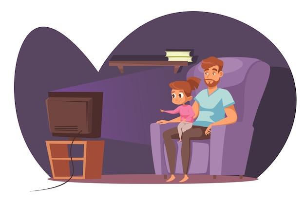 肘掛け椅子に座ってテレビの漫画のキャラクターを見ている父と娘。ホームレジャー、ベビーシッター、父性。