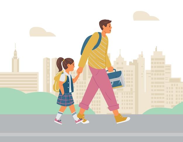 Отец и дочь, идущие на фоне школьного города