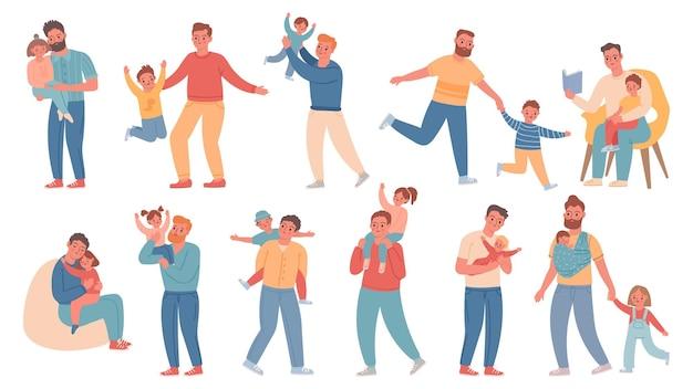 父と子。息子、娘、赤ちゃんと幸せなお父さん。男は子供たちと時間を過ごし、抱きしめ、歩き、遊びます。父の日の文字ベクトルセット。イラスト父の漫画、息子や娘に満足しているお父さん