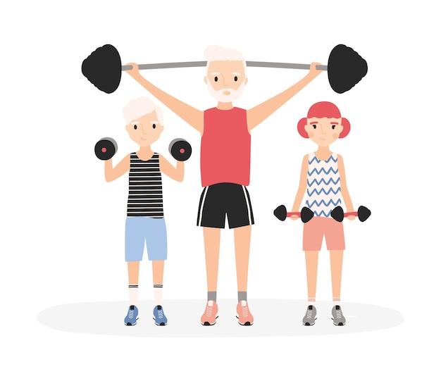 一緒に筋力トレーニングを行う父と子供たち。ジムのトレーニングでダンベルとバーベルを持ち上げる親と子。白い背景で隔離の漫画のキャラクター。フラットベクトルイラスト。