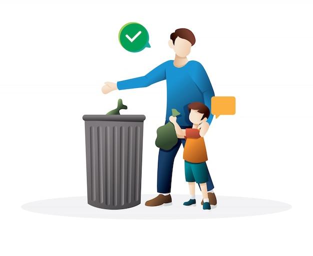 Отец и маленький сын вместе бросают мусор в мусорный бак