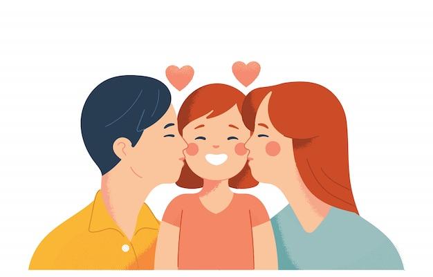 아버지와 어머니는 사랑으로 딸에게 키스
