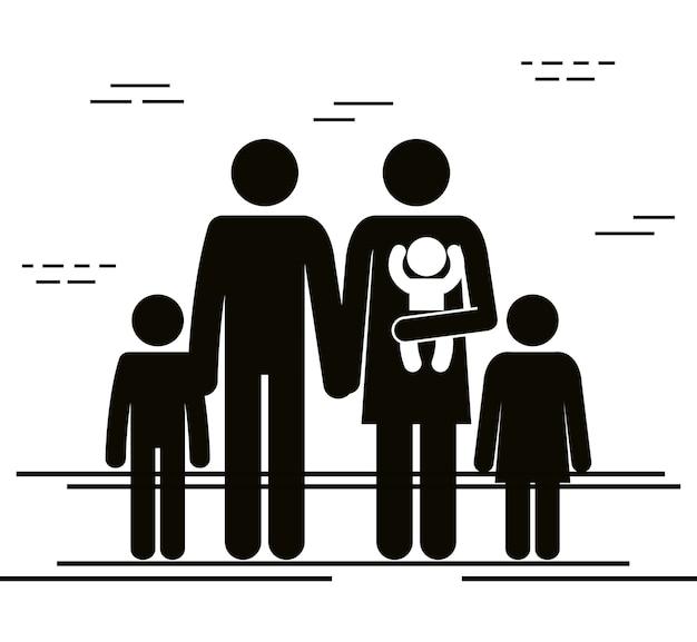 子供のシルエットを持つ父と母