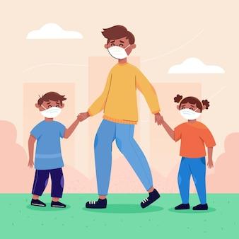 Отец и братья и сестры проводят время на свежем воздухе