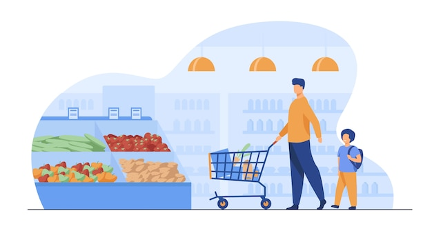 아버지와 아들 슈퍼마켓에서 음식을 구입