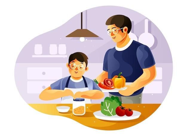 Отец и сын вместе готовят на кухне