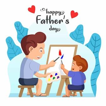아버지와 아들이 함께 그림을하고 있습니다. 해피 아버지의 날 그림입니다.