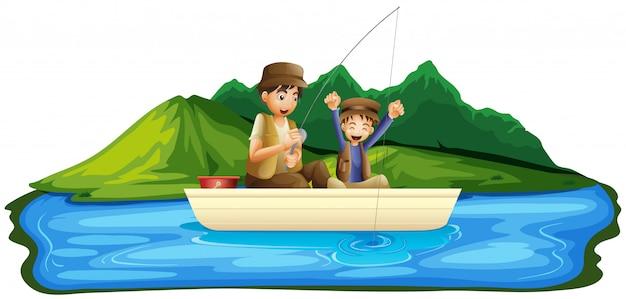 湖の父と息子の釣り