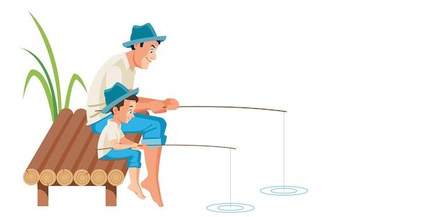 父と息子が一緒に釣りをするイラストシーン