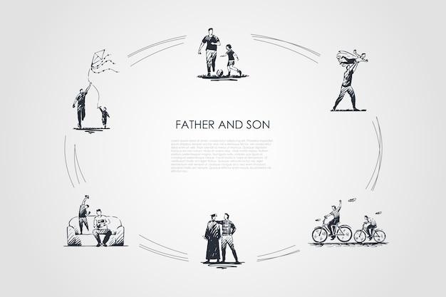 父と息子の手描きのシクル