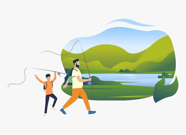 Отец и сын, держа удочки, пейзаж с озером