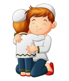Отец и сын обнимали друг друга