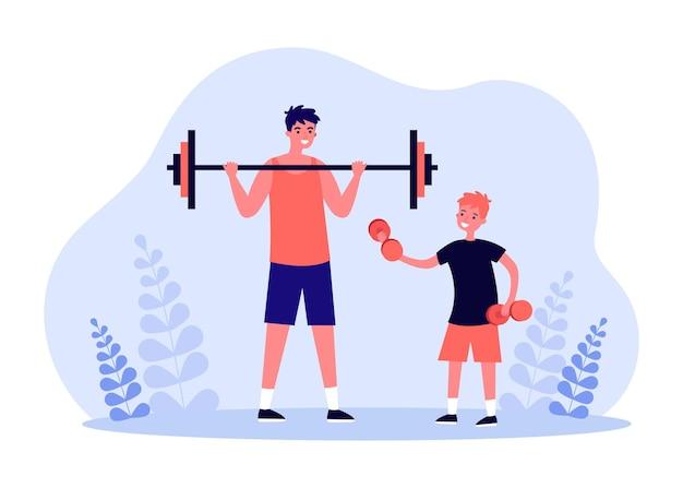 아버지와 아들이 함께 역도를 하고 있습니다. 바벨을 든 성인, 아령 플랫 벡터 삽화가 있는 어린 소년. 가족 피트니스, 배너, 웹사이트 디자인 또는 방문 페이지를 위한 건강한 라이프스타일 개념