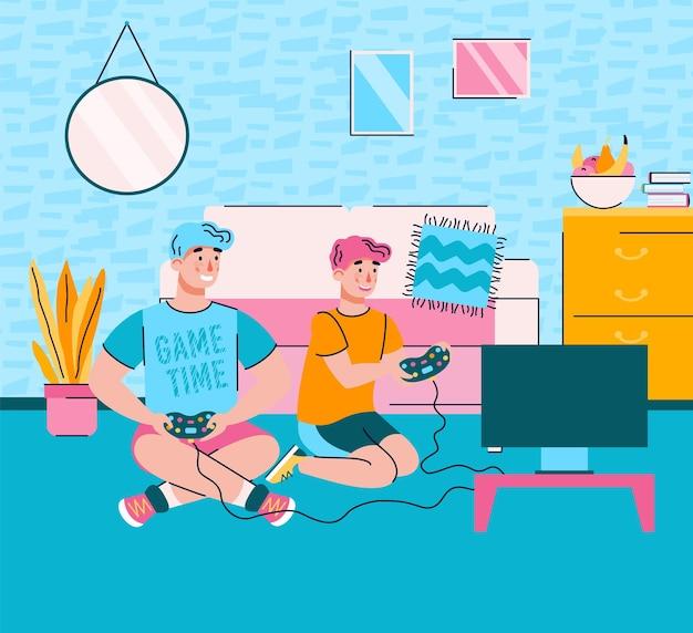거실 내부에서 비디오 게임을 하는 아버지와 아들