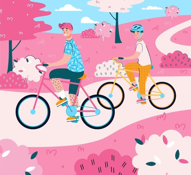 Отец и сын, езда на велосипедах - иллюстрации шаржа