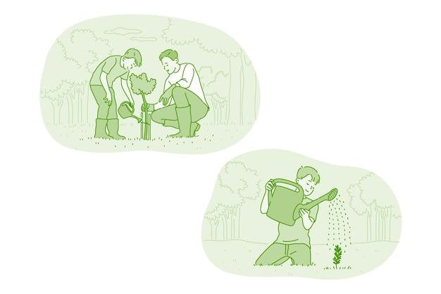 Отец и сын заботятся о выращивании и поливе растений