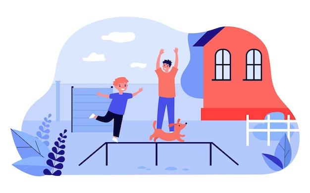Отец и сын тренируют милого щенка на заднем дворе. счастливый ребенок, играя с собакой на открытом воздухе плоской векторной иллюстрации. семья, домашние животные, концепция дрессировки собак для баннера, дизайна веб-сайта или целевой веб-страницы