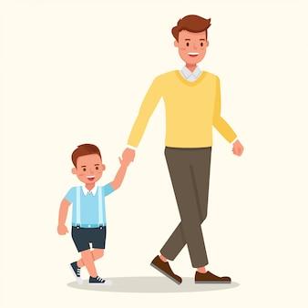父と息子が歩いています。