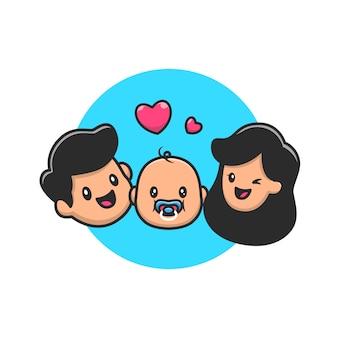 아버지, 아기와 어머니 만화 아이콘 그림. 사람들이 가족 아이콘 개념 절연 프리미엄. 플랫 만화 스타일