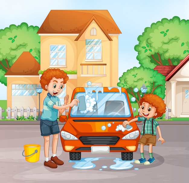 Father and boy washing car