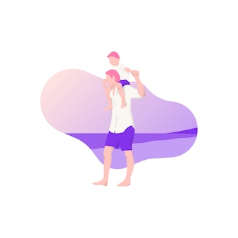 Father carried his son on his shoulder. people character design