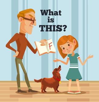 Отец-персонаж ругает дочь за плохую оценку. плохой ученик. плоский мультфильм иллюстрации