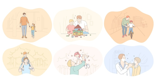 Father and child, fathers day, activities with children concept.