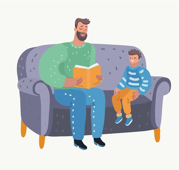 Father and child sitting and reading a book