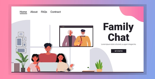 Father and children having virtual meeting with grandparents in web browser window during video call family chat communication concept living room interior horizontal copy space portrait vector illust