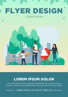 Father cooking barbecue on picnic. park, nature, food flat vector illustration. family and weekend concept for banner, website design or landing web page