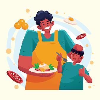 父は息子のためのチャーハンを調理