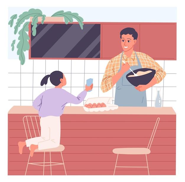 父は食事を作り、彼の幼い娘は彼に加わりたいと思っています