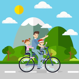 Father cycling the bicycle with his baby travel in natural environment.