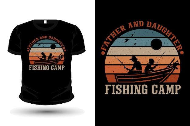 Father and daughter fishing camp merchandise silhouette t shirt design