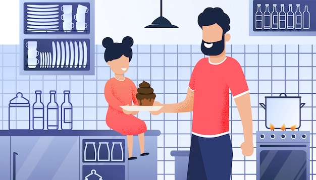 Father and daughter kitchen cartoon illustration