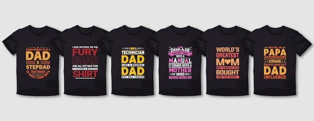 Father daughter and  mother  typography t shirt design set